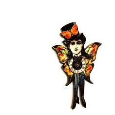 Steampunk Circus Girl brooch, Vintage Circus print, Cabaret Dancer,... ($12) ❤ liked on Polyvore featuring jewelry, brooches, vintage broach, steampunk jewellery, vintage brooches, steampunk brooch and steam punk jewelry