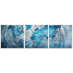 Large triptych art grayscale world map canvas by extralargewallart amber larosa land and sea triptych large world map art on metal or acrylic gumiabroncs Choice Image