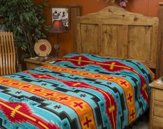 Southwest Plush Style Bedspread QUEEN Size Hopi Turquoise