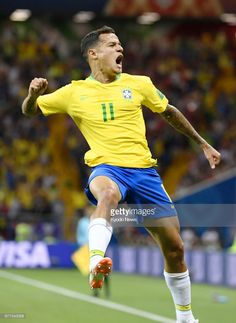 de626a7eb1d Philippe Coutinho of Brazil reacts after scoring the first goal.