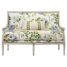 Oakridge Settee, White Lemontree - Colorful floral upholstery modernizes this traditional settee, which is carefully crafted of European beech and trimmed in polished silver nail-heads. Made in the USA. Floral Furniture, White Furniture, Sofa Furniture, Furniture Buyers, Furniture Websites, Furniture Stores, Home Living, Living Room Decor, Floral Couch