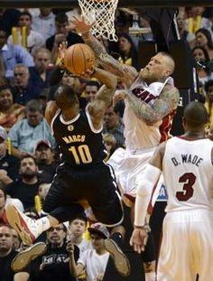 Mar 12, 2014; Miami, FL, USA; Miami Heat forward Chris Andersen (11) blocks the shot of Brooklyn Nets guard Marcus Thornton (10) during the ...