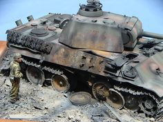 Miniature diorama of a knocked-out Panther tank