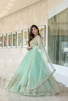 Mint Green Shaurya Sanadhya Lehenga. Click on picture to see lehenga price. #Frugal2Fab