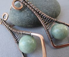 Copper Wire Earrings with Russian Amazonite/ Wire Wrapped by mese9, $29.00
