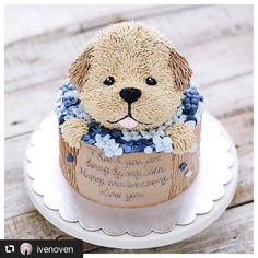 Very cute puppy cake Pretty Cakes, Cute Cakes, Beautiful Cakes, Amazing Cakes, Cookies Cupcake, Puppy Cake, Animal Cakes, Dog Cakes, Fondant Cakes