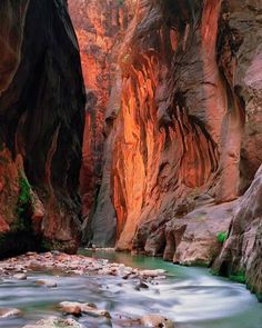 The Narrows (Zion National Park) top down hike.  Sections are 20-30 ft wide and 2k foot high.