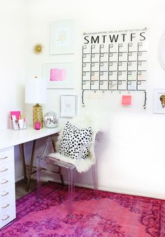 designmeetstyle:  An acrylic sheet from Home Depot vinyl stickers and brass spray-painted hardware are all you need to finish this surprisingly simple DIY calendar on A Beautiful Mess.  Pop of color  http://ift.tt/24YLKsE