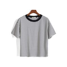 SheIn(sheinside) Short Sleeve Striped Loose White T-Shirt ($13) ❤ liked on Polyvore featuring tops, t-shirts, shirts, clothes - tops, sheinside, white, white t shirt, short sleeve shirts, round neck t shirt and white stripes t shirt
