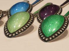 Gustav Gaudernack design for David Andersen. Norway Sterling Silver And Guilloche Enamel Demitasse Spoons