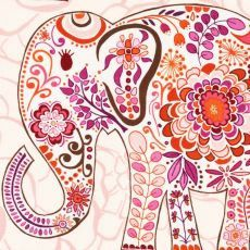 Elephant March  Coral Pink Orange and Lavender  Custom by HappyMae, $335.00