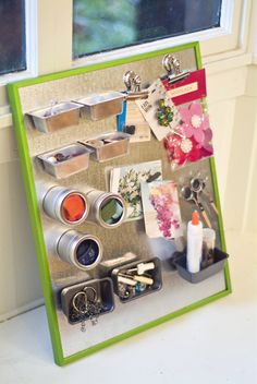 DIY magnet board. Metal from hardware store, old picture frame and heavy duty magnets!