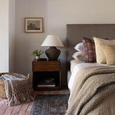 Small Room Bedroom, Master Bedroom Design, Home Bedroom, Bedroom Decor, Bedroom Ideas, Amber Interiors, Vintage Pillows, Upholstered Furniture, Dresser As Nightstand
