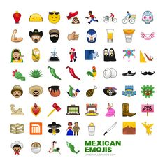 Mexican emojis: artist Eduardo Salles came up with a comprehensive collection of Mexican emojis. The 60 emojis go deeper into Mexican culture, and include Frida and Diego, a calavera, and a piñata. Gift Of Faith, Visual And Performing Arts, Mexican Designs, Arte Pop, One Image, Mexican Style, Learning Spanish, Spanish Class, Popular Culture