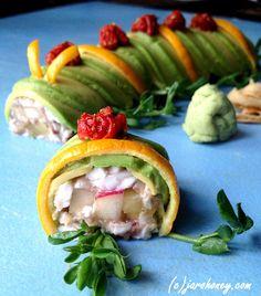 fruity caterpillar roll raw vegan paleo