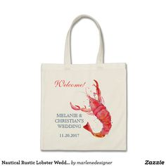 Nautical Rustic Lobster Wedding Canvas Tote