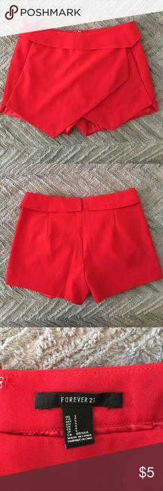 Red envelope shorts Bright red shorts. Never worn. Forever 21 Shorts Skorts