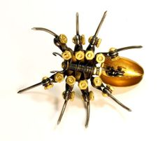 Articulated Brass Spider by Manofecit on Etsy