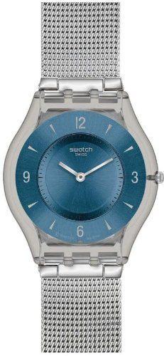 1a6b7d48882109 Swatch Skin Classic Metal Knit Blue Dial Stainless Steel Unisex Watch  SFM120M