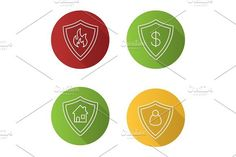 Protection shields flat linear long shadow icons set. Human Icons