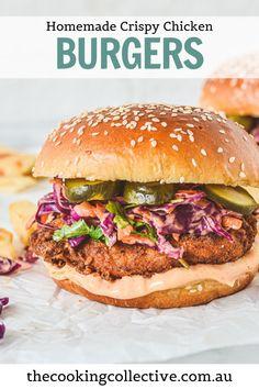 Crispy Chicken Burgers, Pork Burgers, Crispy Fried Chicken, Chicken Sandwich, Healthy Weeknight Meals, Healthy Recipes, Easy Recipes, Sweet Recipes, Healthy Food
