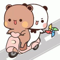 Cute Panda Cartoon, Cute Cartoon Pictures, Cute Love Pictures, Cute Love Gif, Cute Cat Gif, Cute Love Cartoons, Cute Images, Love Cartoon Couple, Chibi Cat