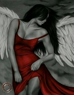Engel in rot - Home Decor Tattoos Motive, Bild Tattoos, Angels Among Us, Angels And Demons, Fallen Angels, Fantasy Kunst, Fantasy Art, Angel Y Diablo, Engel Tattoos