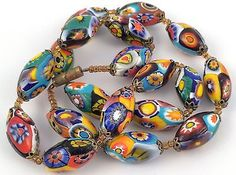 Antique Vintage Art Deco Venetian Murano Millefiori Glass Bead Necklace 18'