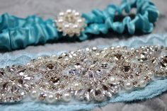 White Wedding Garter Set Lace with Silver Rhinestone Pearl & Satin Ribbon Toss Garter with Silver Pearl Rhinestones by GlamCoutureAndMore on Etsy Silver Rhinestone, Silver Pearls, White Wedding Garter, Blue Garter, Fashion Tape, Blue Bridal, Aqua Blue, Beaded Bracelets, Lace
