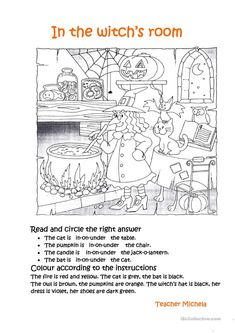 In The Witch's Room Worksheet - Free Esl Printable Worksheets Made on Best Worksheets Collection 4073 Halloween Crafts For Kids, Halloween Games, Halloween Activities, Holidays Halloween, Halloween Diy, English Activities, Kids Learning Activities, Writing Activities, Vocabulary Activities