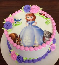 Princess Sofia the First Cake Sofia The First Birthday Cake, Princess Sofia Birthday, Baby Birthday Cakes, Bolo Sofia, Sofia Cake, Themed Cakes, Cake Designs, Cupcake Cakes, Creations