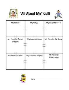 "This 9 square quilt activity allows students to draw or write about their favorite things. I have them cut these out and we put them all together to form one huge class quilt to be displayed on the wall. See my new ""Guess About Me"" icebreaker game for the start of the school year: Guess About Me Game."