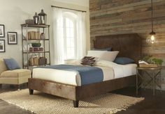 Canterbury Complete Bed with Bonded Leather Upholstered Exterior and Nailhead Trim, Pinto Tobacco Finish, King