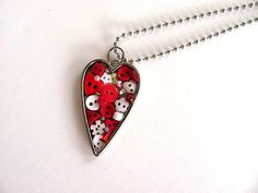 Button Heart Pendant by AllAboutTheButtons, $26.00 USD