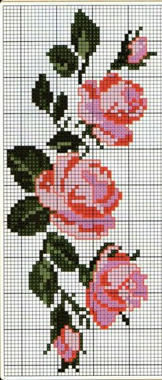 Here you can look and cross-stitch your own flowers. Simple Cross Stitch, Cross Stitch Rose, Cross Stitch Flowers, Cross Stitch Charts, Cross Stitch Designs, Cross Stitch Patterns, Bead Loom Patterns, Beading Patterns, Embroidery Patterns