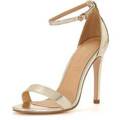 Shoe Box Isabella Ankle Strap Minimal Heeled Sandals ($34) ❤ liked on Polyvore featuring shoes, sandals, strap heel sandals, heeled sandals, party sandals, strappy sandals and special occasion sandals
