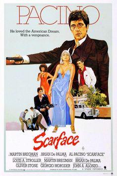 Cinema Tv, I Love Cinema, Cinema Posters, Film Posters, Old Movie Posters, Art Posters, Scarface Film, Scarface Poster, Vintage Movies