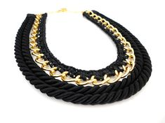 Rope Chain Crochet Statement Necklace by ChichiKnots on Etsy, $33.00