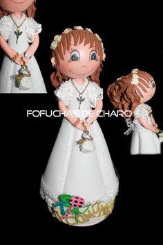 Recuerdo de la Comunión   chicas comunión fofuchas personalizadas regalo vestido