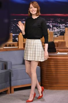 Emma Stone visits The Tonight Show Starring Jimmy Fallon at Rockefeller Center on Oct. 14, 2014, in New York City.   - Cosmopolitan.com