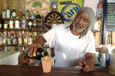 B-Line Beach Bar and the Passion Confusion rum punch. Little Jost Van Dyke, BVI. #Caribbean