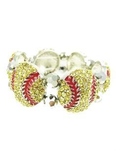 Softball Crystal Stretch Bracelet (From $12.00)