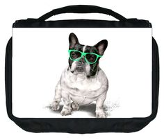 French Bulldog with Green Glasses Design TM Small Travel Sized Hanging Cosmetic/Toiletry Case with 3 Compartments and Detachable Hanger-Made in the U.S.A. >>> Awesome product. Click the image : Makeup organization