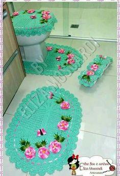 Crochet Diy, Crochet Home, Vintage Crochet, Crochet Stitches Patterns, Crochet Designs, Bathroom Sets, Crochet Projects, Girly, Kids Rugs