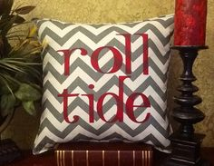 ROLL TIDE Square Chevron Pillow by BurlapPillowsEtc on Etsy, $40.00