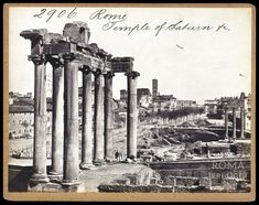 Foro Romano (1850) Roman History, Ancient Rome, Big Ben, Temple, Italy, Travel, Art Pieces, Antique, Vintage