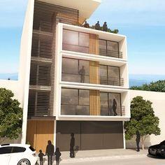 Resultado de imagem para fachadas edificios modernos 4 for Fachadas de departamentos pequenos