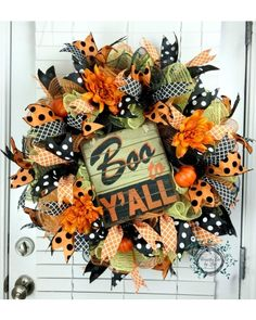 Deco Mesh Wreath - Halloween Wreath - Boo To Y'all - Fall Wreath - Ruffle - Door Decor - Fall Decor - Halloween Decor by WreathsEtcbyLisa on Etsy Holidays Halloween, Fall Halloween, Halloween Crafts, Halloween Decorations, Halloween Mantel, Halloween Displays, Halloween Halloween, Vintage Halloween, Halloween Makeup