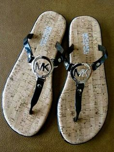 Michael Kors | Black Silver Charm Logo Jelly Flip Flops