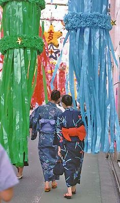 """Women dressed in yukata at Tanabata. Tanabata (七夕?, meaning """"Evening of the seventh"""") Japanese star festival."""